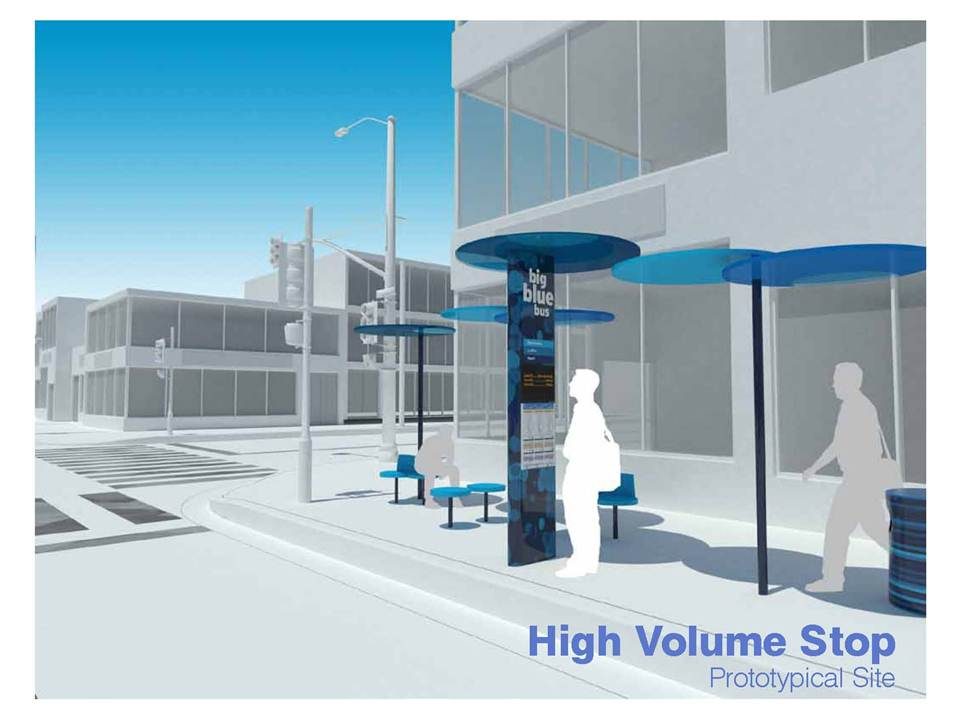 Rendering of a High Volume Blue Spot bus shelter