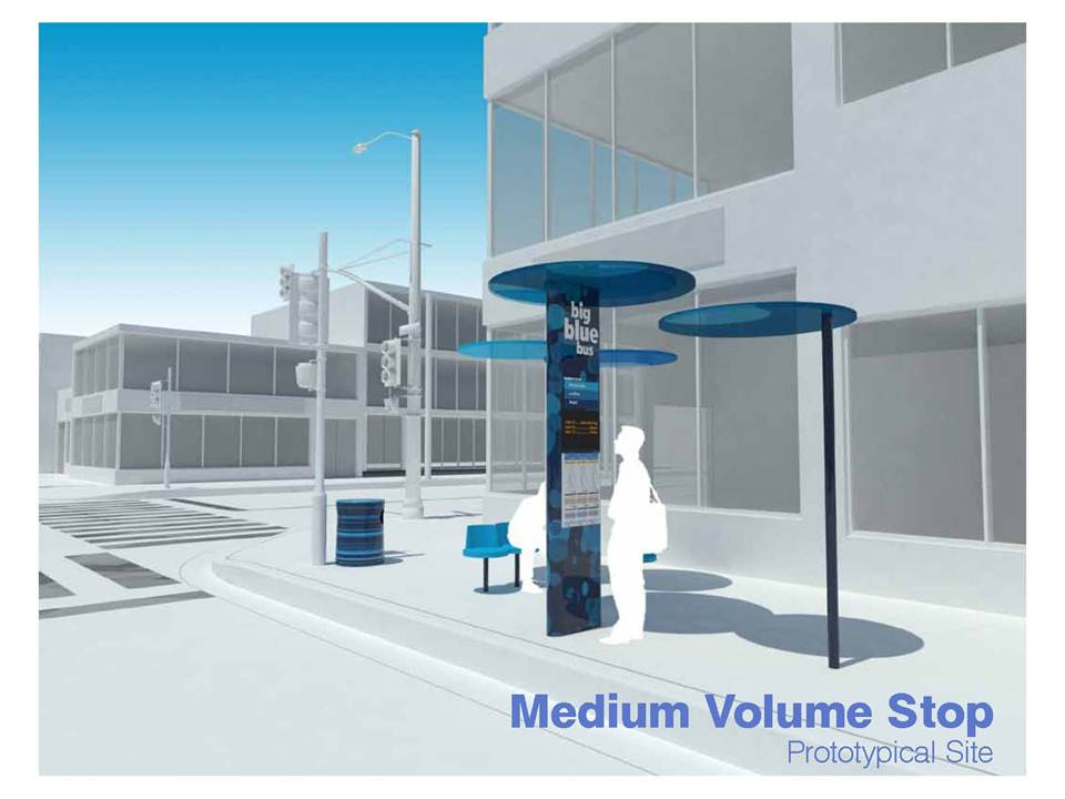 Rendering of a Medium-Volume Blue Spot bus shelter